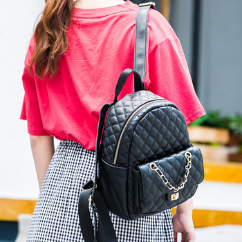 0993 New Fashion double shoulder bag leisure trendy women bag street fashion small knapsack Cowhide Leather Backpack