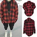 2017 Mais Recente Moda Masculina Justin Bieber Hip Hop Tyga Oversize Ocasional Grade Xadrez Vermelha com capuz Longo-sleeved Camisa Streetwear