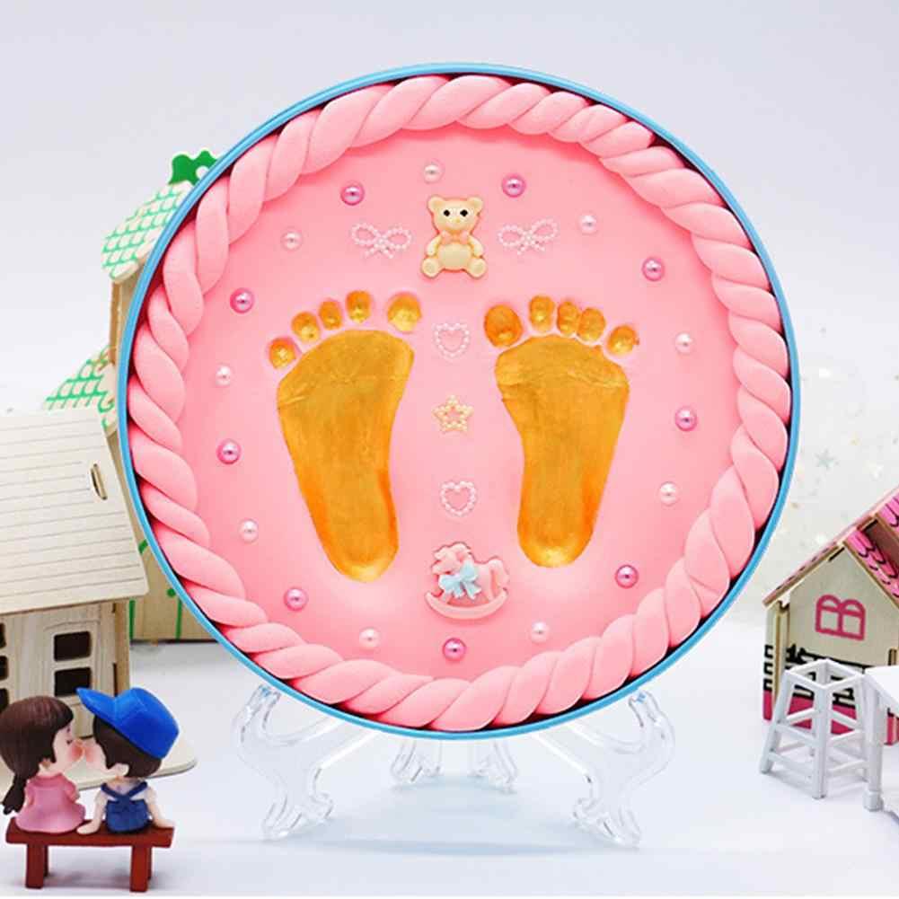 Детские руки и ноги печати грязи ребенка фоторамка сувенир ребенка день рождения Подарочная коробка с колесом и номером ребенка руки ноги печати