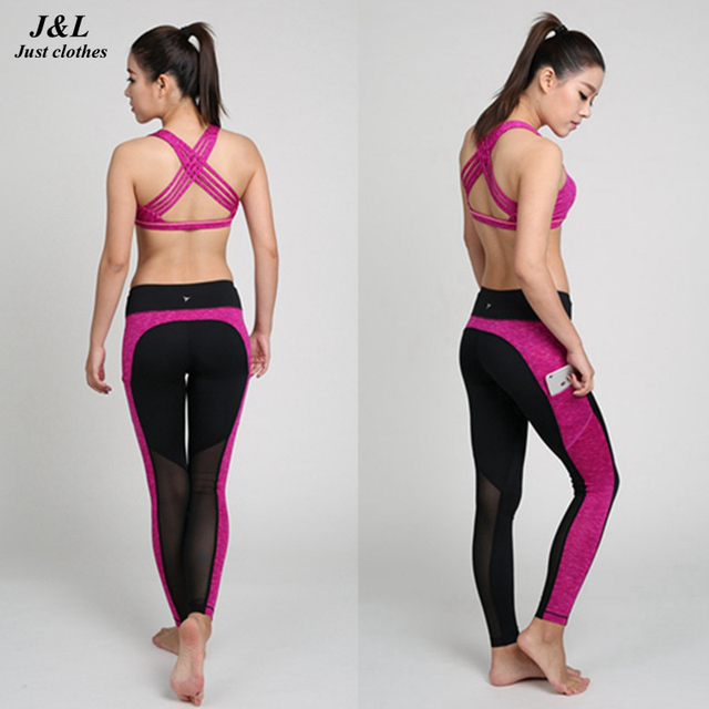 2016 Workout Woman Fitness Leggings Side Pocket Slim Trouser Sporting Pants Casual Splice Mesh Elastic Slim Legging For Women