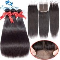 Sapphire 100 Human Hair Weave Bundles With Closure Remy Weft 3 Bundles Brazilian Straight Hair Bundles