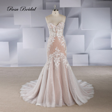 Rosabridal Mermaid wedding dress 2018 Vestido de novia wholesale strapless boning bodice appliques over gray tulle with tail