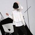 [Soonyour] de alta calidad 2017 de la moda de primavera nuevo tamaño más blusas de manga larga blanca suelta camisa de la mujer del tamaño grande moda c006110