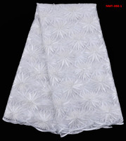 African tulle lace fabric high high quality net in pure white with maple leaf  5yards/pcs for sewing dress July-26-2017