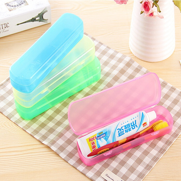 Modern Design Portable Hygienic Travel Camping Toothbrush Holder Protect Case Storage Box Colors Randomly Delivered image