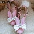 LIN REY Zapatos de Fiesta de Tacones Gruesos Bombas de Las Mujeres de Cosplay Conejo Hebilla de Correas de Cuero Sólido Punta Redonda Zapatos de Plataforma Lolita