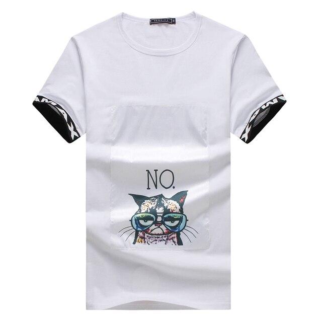 a014ebb9 New Special Design Men T Shirts 2017 Summer Fashion Cat Print Casual T-Shirt  Men