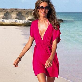 European Style Robe De Plage Summer Women Elastic Ice Swimwear Deep V-Neck Solid Short Sleeves Beach Cover Up 5