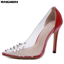 TINGHON PU Mature Pumps Women Transparent Diamond Rivet Pointed Toe Red Shallow Slip-On Women Thin High Heels Dance Office