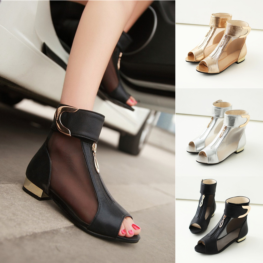 b81b47e266f9 Chunky Metal Boots Gauze Buckle Peep Sandals Shoes Strap Ankle Sexy Sandals  Elegant Loop Heel Decoration ...