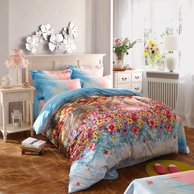 Country Style Colorful Blooming Flowers Bedding Sets Duvet Cover Bed ...