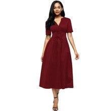 LOVEBATU Brand Ankle Length Dress Splicing Bow Tie Shot Sleeve Dresses
