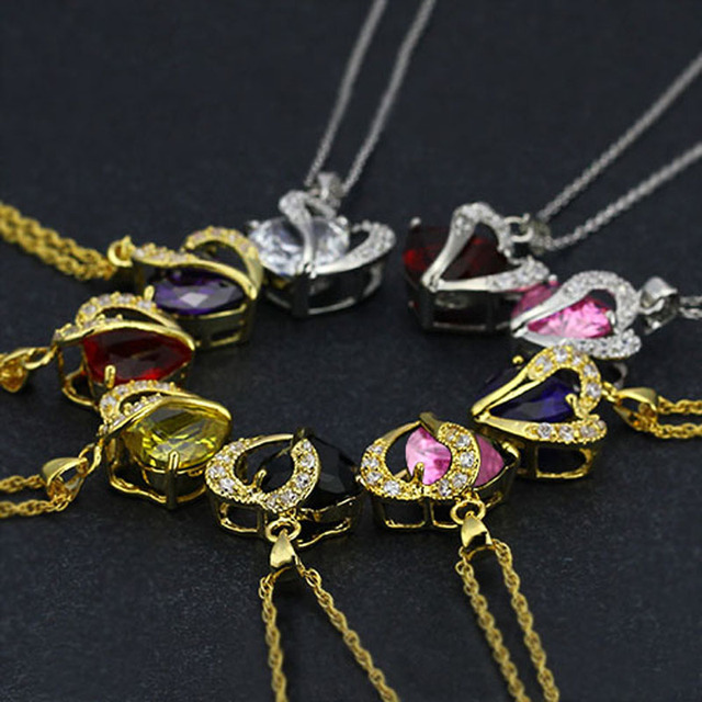 Multi-Color Heart Jewelry For Women CZ Pendant Necklace With Chain Necklaces & Pendants Gift For Girls