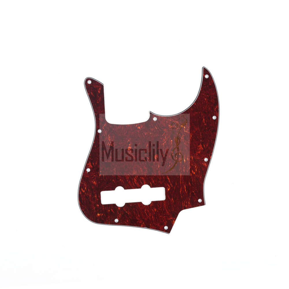 Red Tortoise 4Ply JB Pickguard For Genuine FenderUS/Mexico Made Standard Jazz Style Bass musiclily 1ply hss guitar st pickguard for fenderstrat usa mexico standard modern style