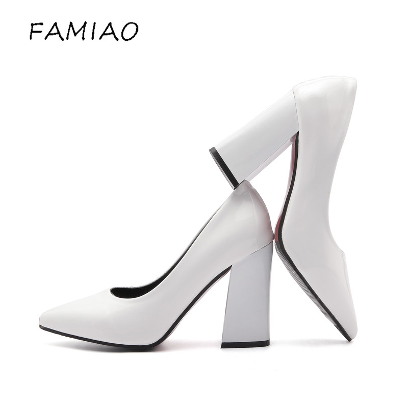 FAMIAO Super high heels shoes black and white women pumps sexy point toe slip on red wedding shoes thick heel party concise pump