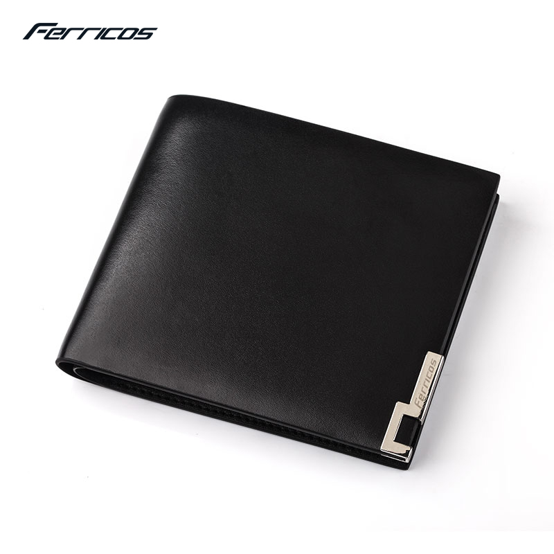 Ferricos Black Male Wallets Famous Brand Genuine Leather  Men Money Purses New Classic Soild Pattern Designer Soft ID Card Case 2015 new male baridian us 100 dollar bill fake money short purses billeteras hombre women s wallets classic flag designer
