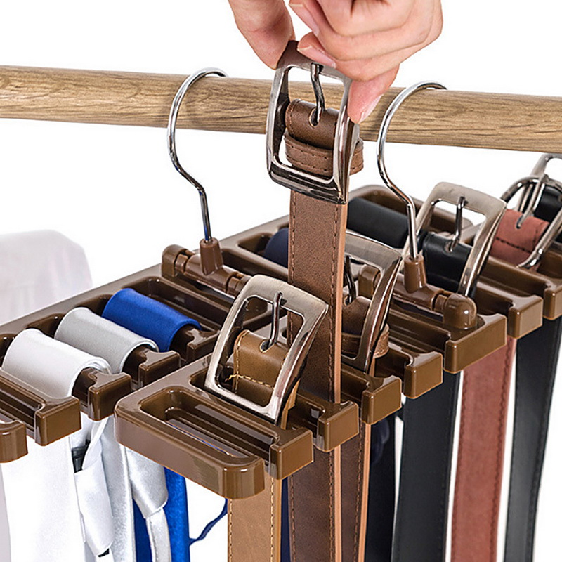 Closet Tie Belt Storage Rack Organizer Clothing Hanger Hooks Scarf Hanger Holder Closet Organization Bra Multifuction Belt Rack flat panel display