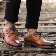 2019 Italian Luxury Brand Mens Dress Shoes Vintage Oxford Shoes For Men High Quality Genuine Leather Formal Shoes Men