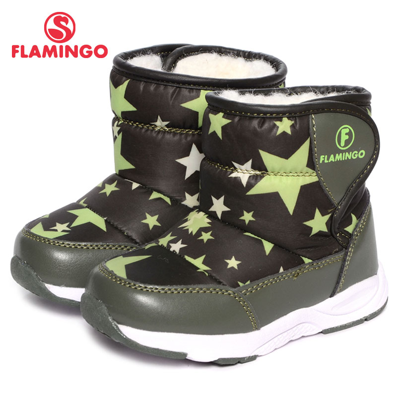 FLAMINGO Winter Waterproof Wool Warm Mid-Calf Hook& Loop High Quality Kids Shoe Anti-slip Size 22-27 Snow Boots for Boy W6NQ003 gsou snow brand winter ski suit men ski jacket pants waterproof snowboard sets outdoor skiing snowboarding snow suit sport coat