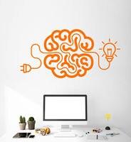 Vinyl Wall Decal Creative Cartoon Brain Light Bulb Idea Stickers Art Painting Wall Stickers