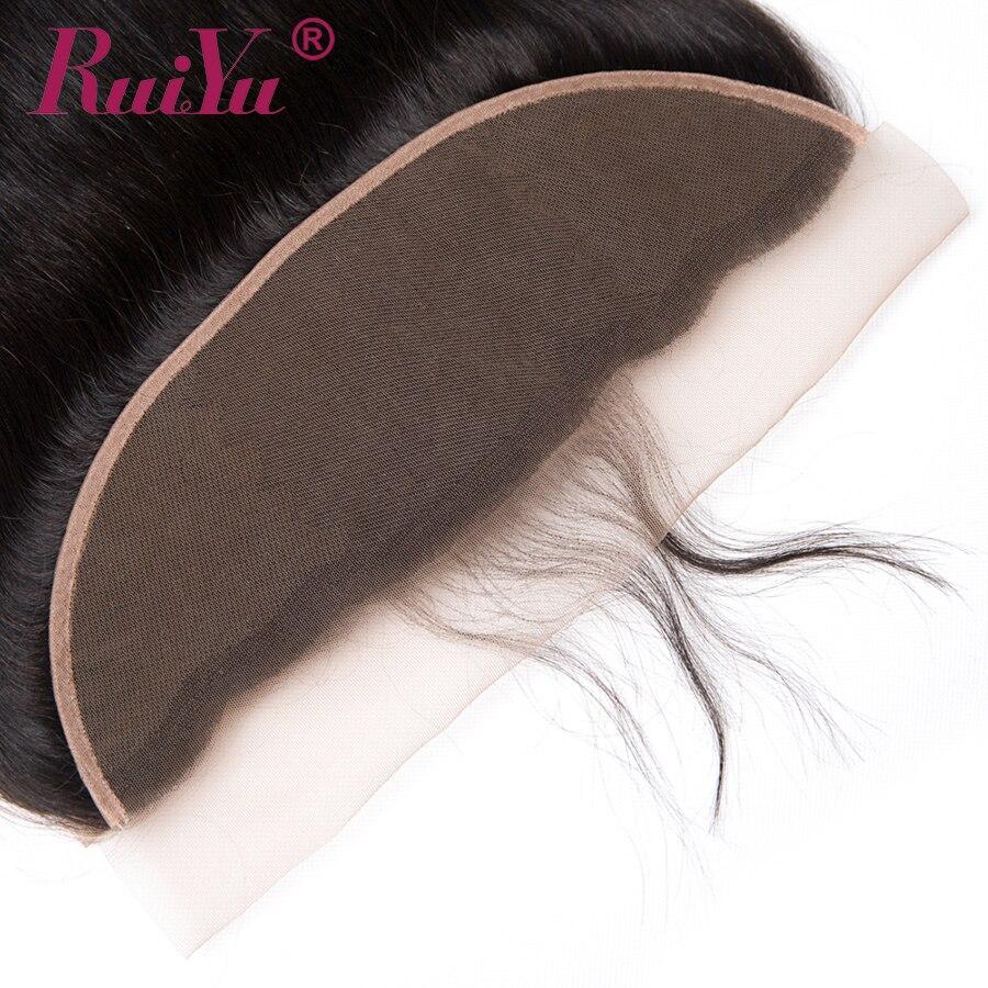 RUIYU Peru taisni matu mežģīņu frontālās slēgšanas auss uz - Cilvēka mati (melnā krāsā) - Foto 4