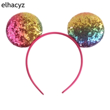 10pcs/lot Minnie Mouse Ears Headband Summer Colorful Glitter Sequin Bow Headwear Kids Birthday Party Padded Ear Hair Accessories