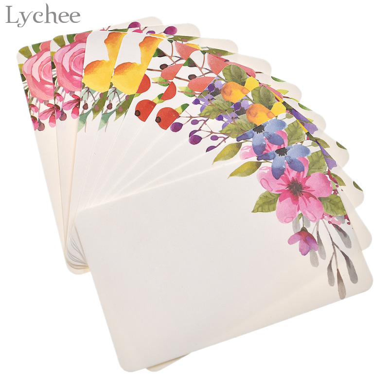 Lychee Life 50pcs Handmade Flower Message Scrapbook Paper Card DIY Greeting Cards Postcards Party Wedding Invitation Cards
