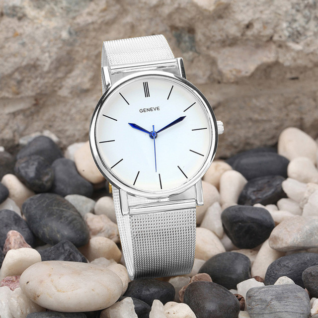 2019 Geneve Brand Mesh Belt Stainless Steel Watch Quartz WristWatches Women Luxury Dress Watch Fashion Men Sport Gift Clock #20