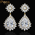 Sparking Gold Plalted Big Flower Cubic Zirconia Simulated Diamond Bridal Wedding Party Long Water Drop Earrings For Gift E229