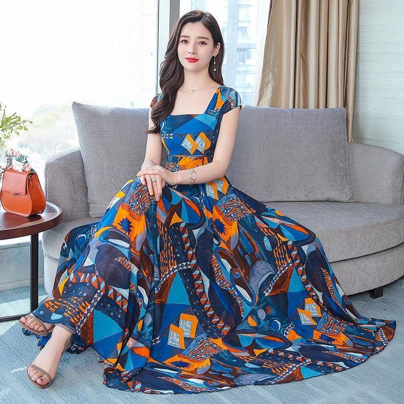 2019 New Summer Women Floral Print Chiffon Maxi Dress Female Square Collar Swing Dresses Lady Party Beach Draped Vestidos Y117 2