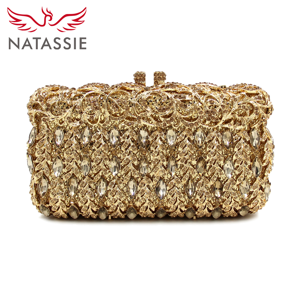 NATASSIE New Women Luxury Crystal Clutch Evening Bag Party Handbag Wedding Purse Banquet Free Drop Shipping Gold LD102 natassie new design luxury crystal clutch women evening bag gold red ladies wedding banquet party purses good quality