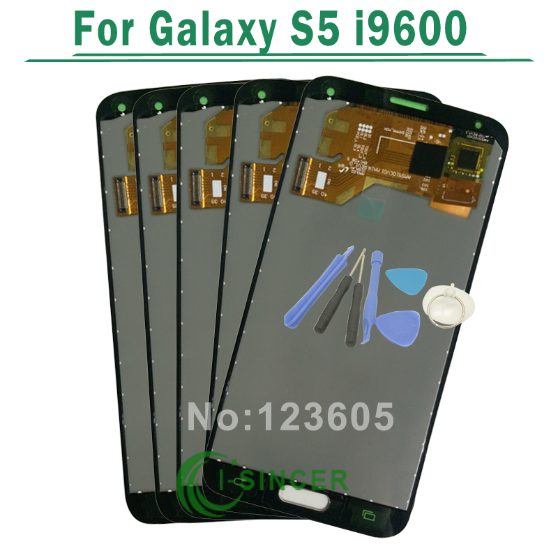 5.1 White/black LCD For Samsung For Galaxy S5 i9600 Full LCD Screen with Touch Screen Digitizer Assembly + Tools Free Shipping
