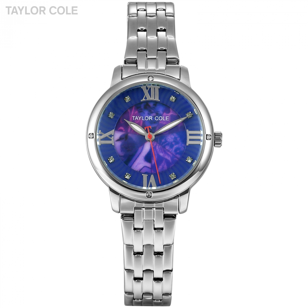 Taylor Cole Brand Women Watch Sliver Case Blue Dial Analog Stainless Steel Bracelet Hodinky Clock Wrist Watch Quartz Watch/TC125 833 stylish 8 led blue light digit stainless steel bracelet wrist watch silver blue 1 x cr2016