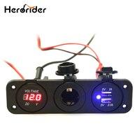 Herorider 12 V Double USB Cigarette Auto Voiture Allume Splitter Power Adapter Chargeur pour iPhone Numérique Voltmètre Affichage