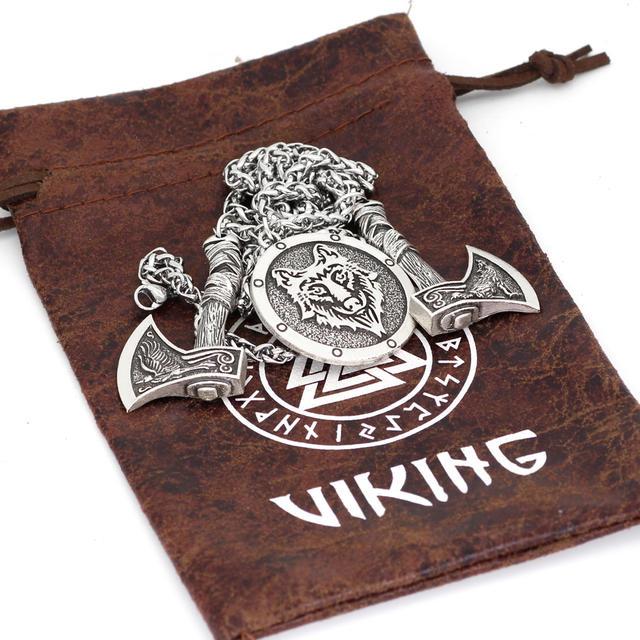 NORDIC VIKING ODINS WOLF & RAVEN NECKLACE (2 VARIAN)