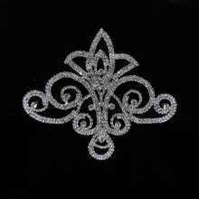 Cusack Flower Silver Rhinestones Applique for Wedding Dresses Costume Applique Sewing DIY Crafts Handmade 11.0*12.5 cm