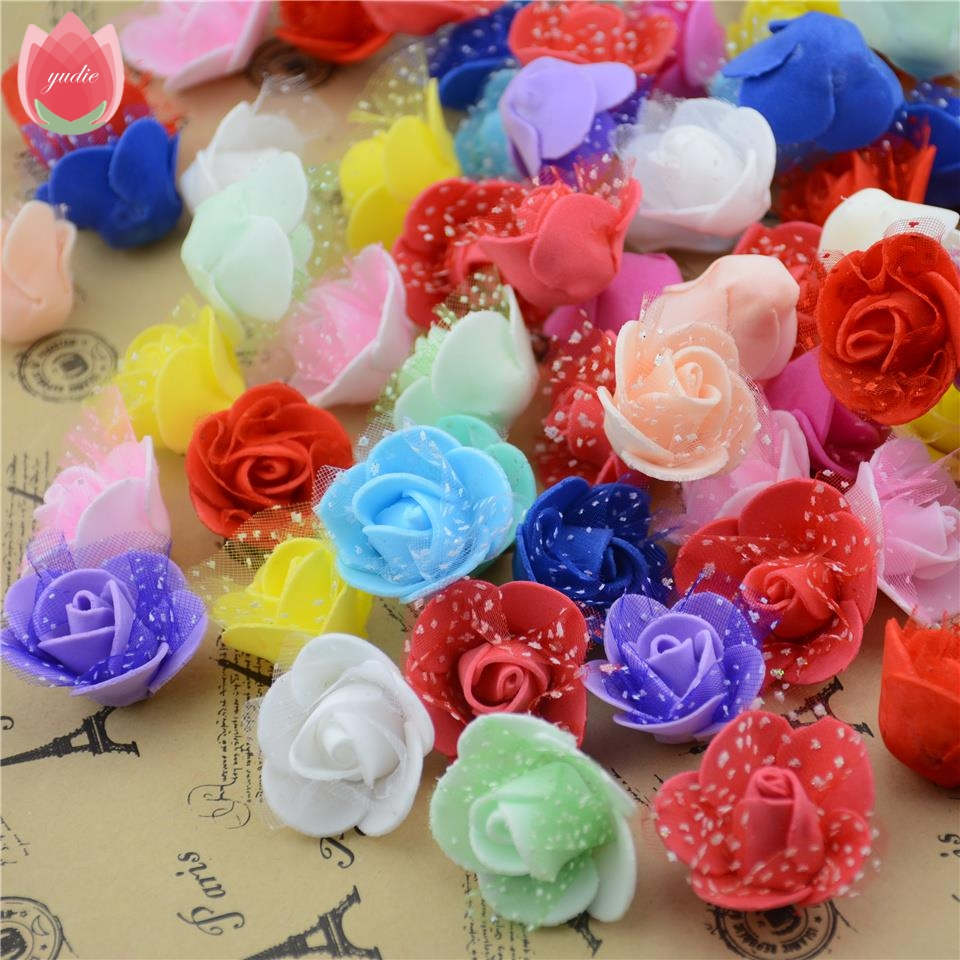 20pcs 25cm Cheap Foam Lace Red Mini Artificial Rose Flower Head