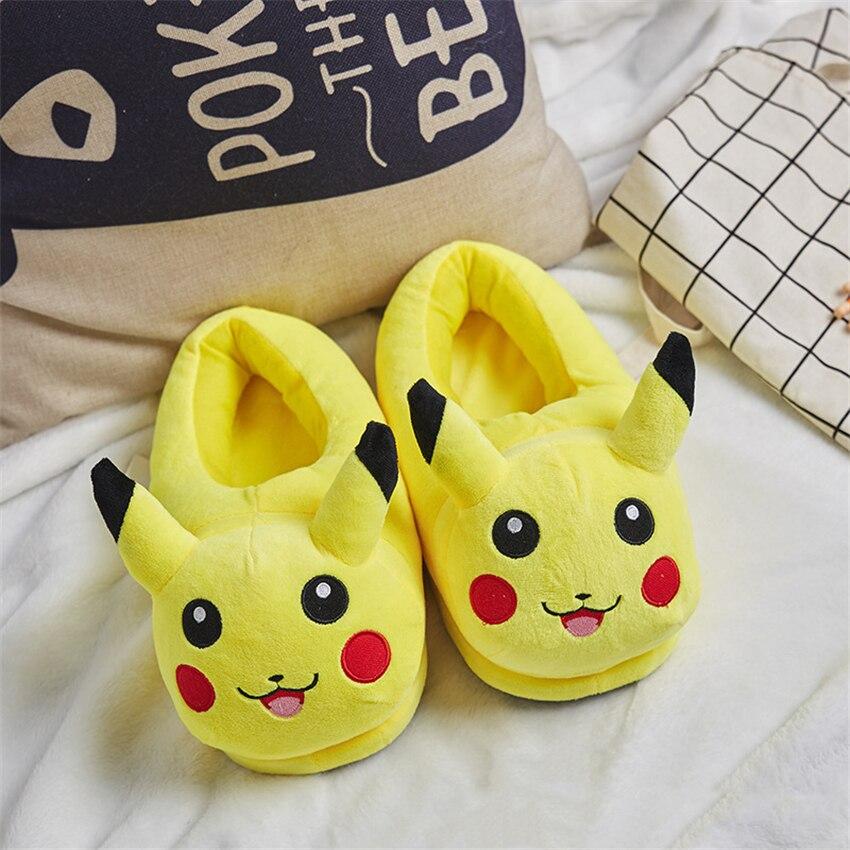 Anime Pokemon Cotton Pajama Shoes Kids Adult Pikachu Umbreon Winter Keep Warm Plush Slippers Children Home Indoor Slippers