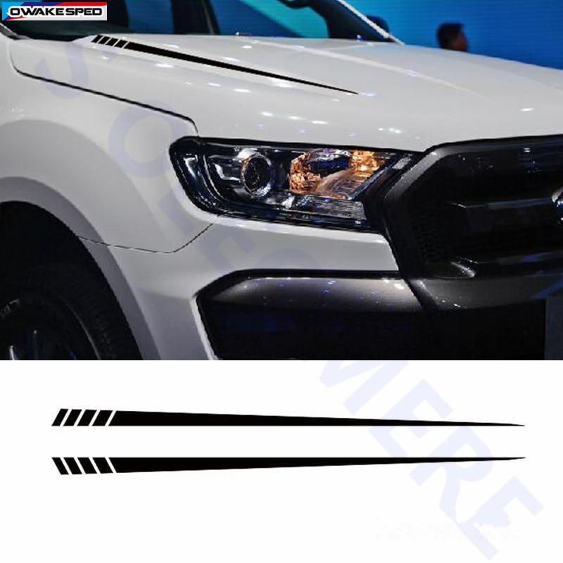 1 Set Auto Haube Aufkleber Racing Sport Streifen Vorne Motor Abdeckung Decor Aufkleber Für Ford Ranger 2012 17 Außen Zubehör Aufkleber