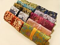 11x7 inch Luxury Silk Brocade Jewelry Roll Travel Bag Zipper Drawstring Cosmetic Makeup Storage Bag Packaging for Jewelry
