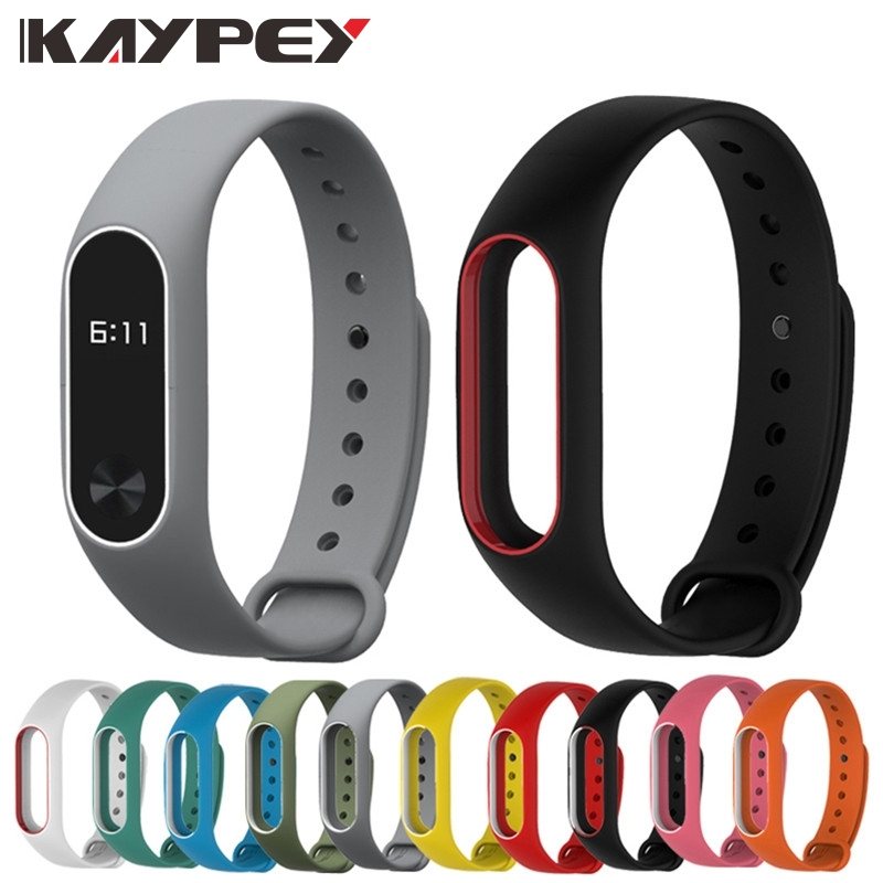 Colorful MiBand 2 Silicone Wrist Strap Bracelet Double Color Replacement watchband for Original Xiaomi Mi band 2 Wristbands belt