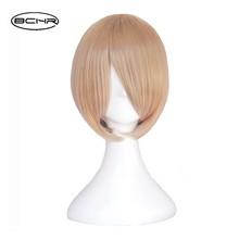 BCHR Kort Blond Cosplay Paryk 6 tum Straight Synthetic Paryk för Kvinnor och Män 24 Färg Brun Blå Svart Gratis Frakt