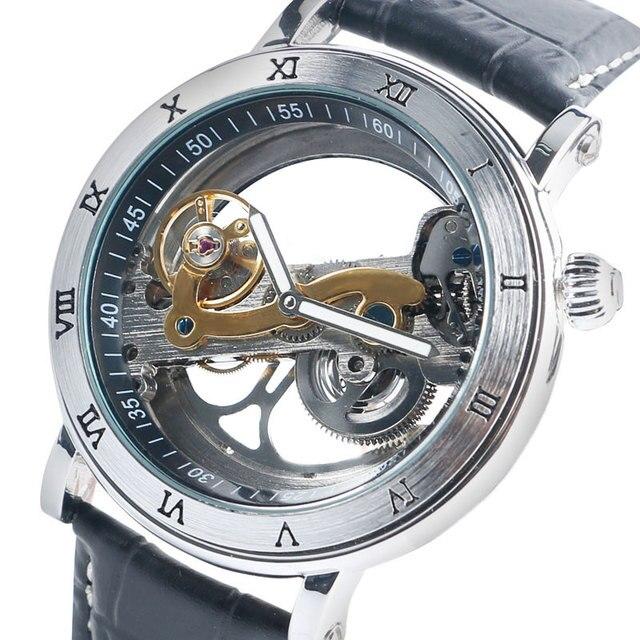 4f079b9e2de Prata luxo Transparente Mecânico Automático Assista Números Romanos Relógio  de Pulso Masculino Relógio de Couro Genuíno