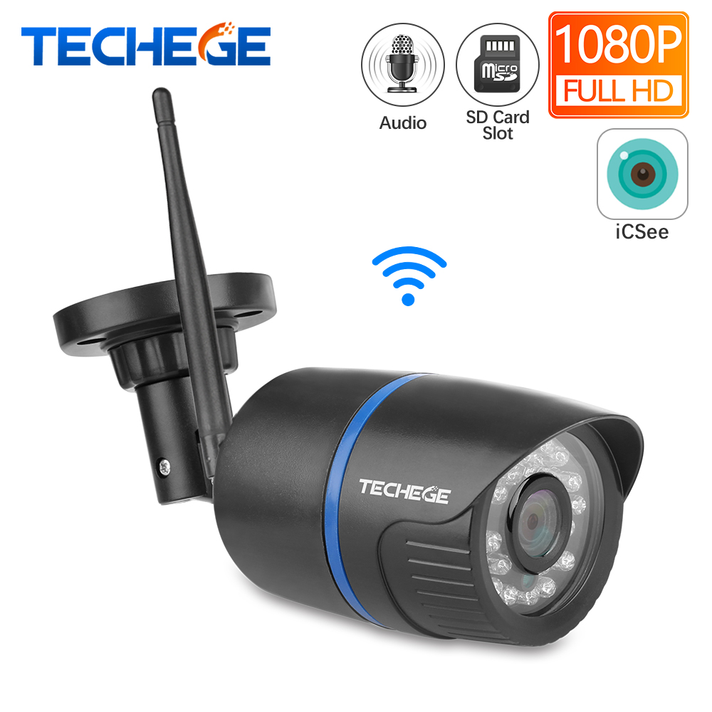 Techege WIFI IP Camera Audio Record 1080P HD Network 2.0MP Wireless Camera Onvif Night Vision Waterproof Camera TF Card Storage