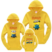 Family clothing mother kids clothes Family Look Cartoon sweatshirts hoodies autumn winter Family Matching Clothes Minions