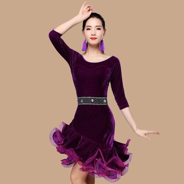 051eebd401 Latino danza oro terciopelo vestido de otoño e invierno nuevo adultos Just  Dance ropa costumes-