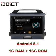 IDOICT  Android 8.1 Car DVD Player GPS Navigation Multimedia For KIA Sportage R radio 2010-2017 car stereo bluetooth idoict android 8 1 car dvd player gps navigation multimedia for honda crv radio 2008 2009 2010 2011 car stereo