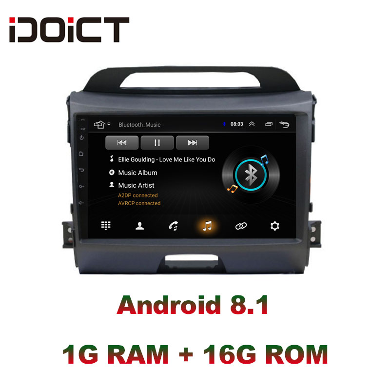 IDOICT Android 8.1 Car DVD Player GPS Navigation Multimedia For KIA Sportage R radio 2010 2017 car stereo bluetooth