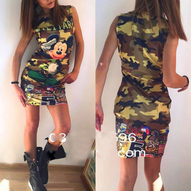 Lossky New Fashion Women Clothing 2019 Summer Ethnic Dress Sexy Cartoon Bodycon Print O Neck Mini Casual Sheath Dresses in Dresses from Women 39 s Clothing