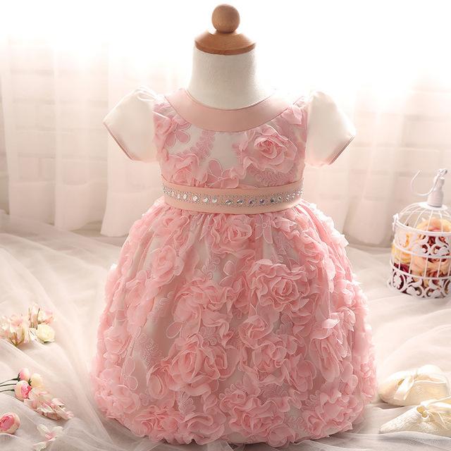 Dress para el bebé recién nacido primer cumpleaños party girl vestidos de blanco vestidos de bautismo infantil ropa de las muchachas niños vestidos